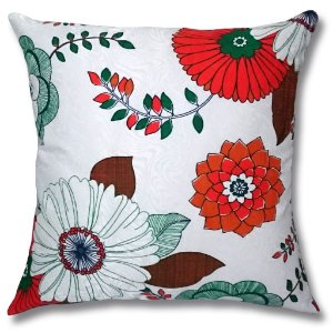 Almofada em Jacquard Estampado Floral Laranja 45cm x 45cm
