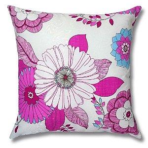 Almofada em Jacquard Estampado Floral Rosa 45cm x 45cm