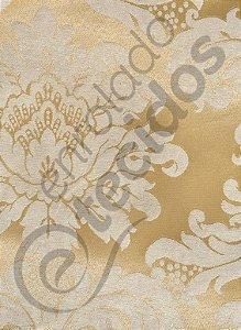 Tecido Jacquard Dourado Medalhão ou Listrado 2,80m de Largura