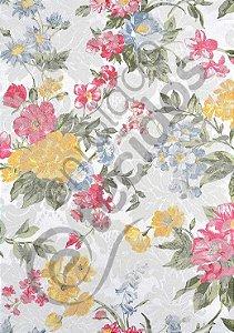Tecido Jacquard Floral Amarelo e Rosa Estampado 2,80m de Largura
