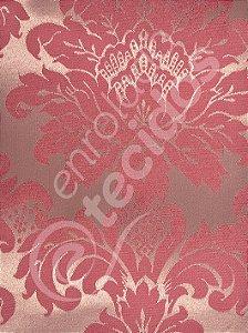 Tecido Jacquard Vermelho com Dourado Medalhão ou Listrado 2,80m de Largura