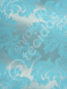 Tecido Jacquard Azul e Prata Frozen Medalhão ou Listrado 2,80m de Largura