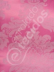 Tecido Jacquard Rosa Pink Chiclete Medalhão ou Listrado 2,80m de Largura