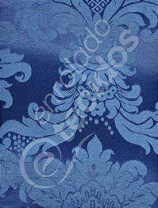 Tecido Jacquard Azul Escuro Medalhão ou Listrado 2,80m de Largura