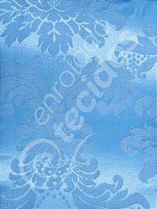 Tecido Jacquard Azul Bebê Celeste Medalhão ou Listrado 2,80m de Largura