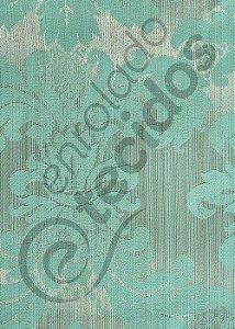 Tecido Jacquard Luxo Azul Tiffany Medalhão ou Listrado 2,80m de Largura