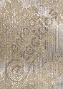 Tecido Jacquard Luxo Bege Medalhão ou Listrado 2,80m de Largura