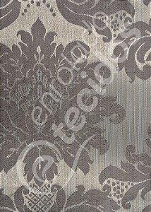 Tecido Jacquard Luxo Cinza Medalhão ou Listrado 2,80m de Largura