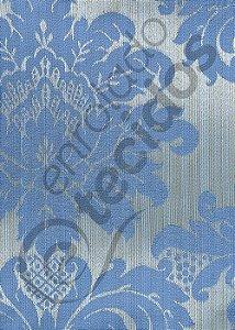 Tecido Jacquard Luxo Azul Medalhão ou Listrado 2,80m de Largura