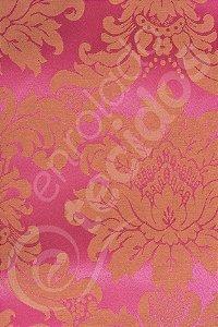 Tecido Jacquard Pink e Laranja Medalhão ou Listrado 2,80m de Largura