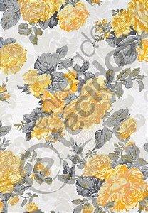 Tecido Jacquard Floral Amarelo Estampado 2,80m de Largura