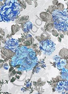 Tecido Jacquard Floral Azul Estampado 2,80m de Largura
