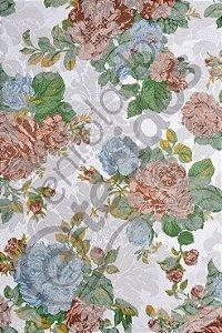 Tecido Jacquard Floral Rosa Envelhecido Estampado 2,80m de Largura