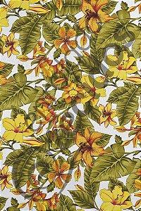 Tecido Jacquard Estampado Flor Hibiscus Amarelo 1,40m de Largura