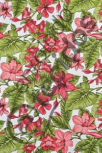 Tecido Jacquard Estampado Flor Hibiscus Vermelho 1,40m de Largura