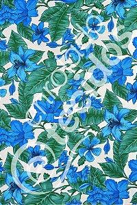 Tecido Jacquard Estampado Flor Hibiscus Azul 1,40m de Largura