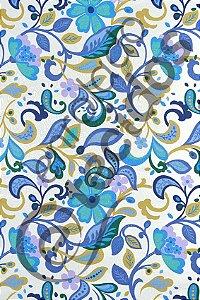 Tecido Jacquard Estampado Floral 1,40m de Largura