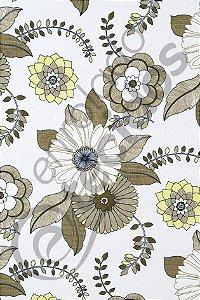 Tecido Jacquard Estampado Floral Bege 1,40m de Largura