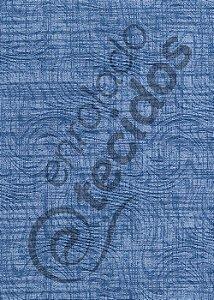 """Tecido Jacquard Estampado Liso Azul """"Jeans"""" 1,40m de Largura"""