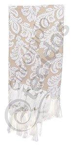 Manta para Sofá em Tecido Jacquard Fio Tinto Bege e Branco 1,80m X 1,40m