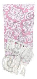 Manta para Sofá em Tecido Jacquard Fio Tinto Rosa Bebê e Branco 1,80m X 1,40m
