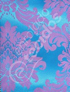 Tecido Jacquard Azul Frozen e Rosa Medalhão ou Listrado 2,80m de Largura