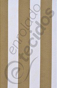 Tecido Gorgurinho Listrado Bege e Branco 1,50m de Largura