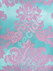 Tecido Jacquard Azul Tiffany e Rosa Medalhão ou Listrado 2,80m de Largura
