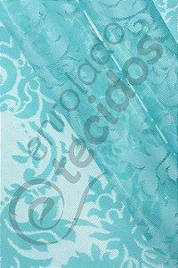 Renda Medalhão Azul Tiffany 3,0m de Largura