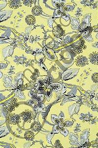 Tecido Jacquard Estampado Floral Amarelo e Cinza 1,40m de Largura