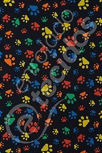 Tecido Gorgurinho PET Patinha Animal Preto 1,50m de Largura
