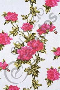 Tecido Jacquard Estampado Floral Rosa 1,40m de Largura