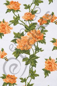 Tecido Jacquard Estampado Floral Laranja 1,40m de Largura