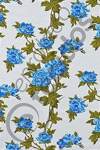 Tecido Jacquard Estampado Floral Azul 1,40m de Largura