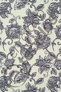 Tecido Jacquard Estampado Floral Cinza 1,40m de Largura