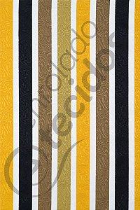 Tecido Jacquard Estampado Listrado Amarelo e Preto 1,40m de Largura