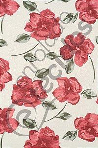 Tecido Jacquard Estampado Floral Terracota 1,40m de Largura