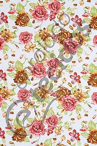 Tecido Jacquard Estampado Floral Rosa e Laranja 1,40m de Largura