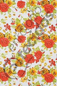 Tecido Jacquard Estampado Floral Vermelho e Laranja 1,40m de Largura