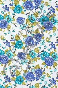 Tecido Jacquard Estampado Floral Violeta 1,40m de Largura