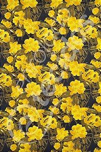 Tecido Jacquard Estampado Floral Amarelo e Preto 1,40m de Largura
