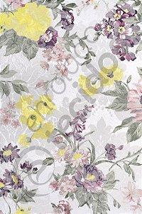 Tecido Jacquard Floral Lilás e Amarelo Estampado 2,80m de Largura