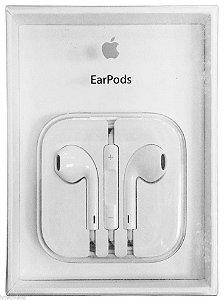 Fone de Ouvido Para Celular IPhone EarPods Cable Flat Entrada P2 Som Stereo Com Microfone e Volume Cor Branca
