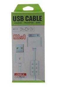 Cabo de Dados USB Carregador Para iPhone 4 4S 1,5M High Speed com Filtro de Linha