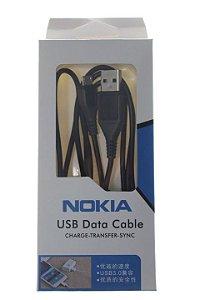 Cabo de Dados USB Nokia Entrada V8 1ª Linha Qualidade Original na Cor Preta