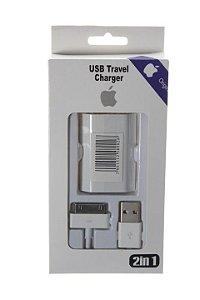 Carregador Fonte Tomada USB Com Cabo para iphone 3-4-4s Kit 2 em 1