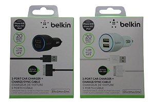 Carregador Veicular Belkin Dois USB com Cabo IPhone 3gs-4-4s-IPod Cor Branca ou Preta