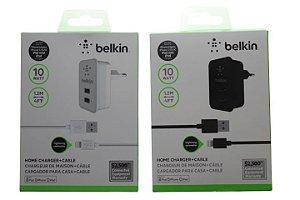 Carregador Tomada Belkin Dois USB Com Cabo IPhone 5-5c-5s-6-6Plus-Pad-IPad Mini Cor Branca ou Preta