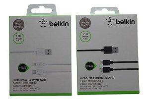 Cabo Belkin Duplo 1,2 Metros Micro Usb V8 e IPhone 5-5c-5s-6-6Plus-Pad-IPad Mini Cor Branca ou Preta