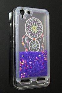 Capas para Celular Lenovo Vibe K5 Silicone Transparente Glitter Liquido Roxo